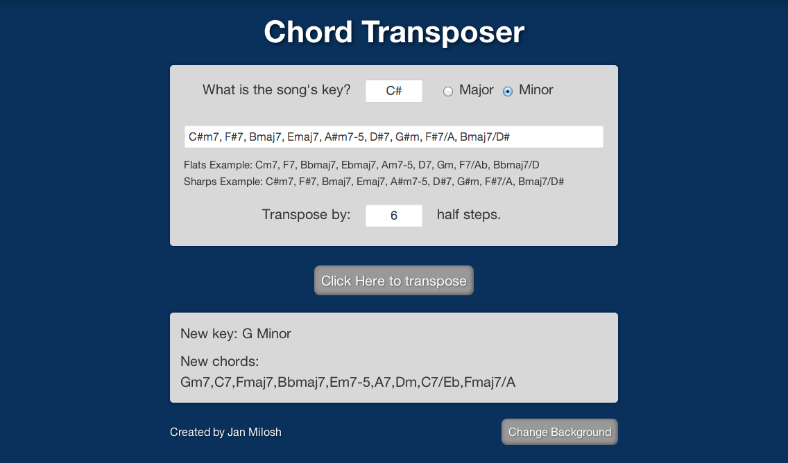 Music chord transposer