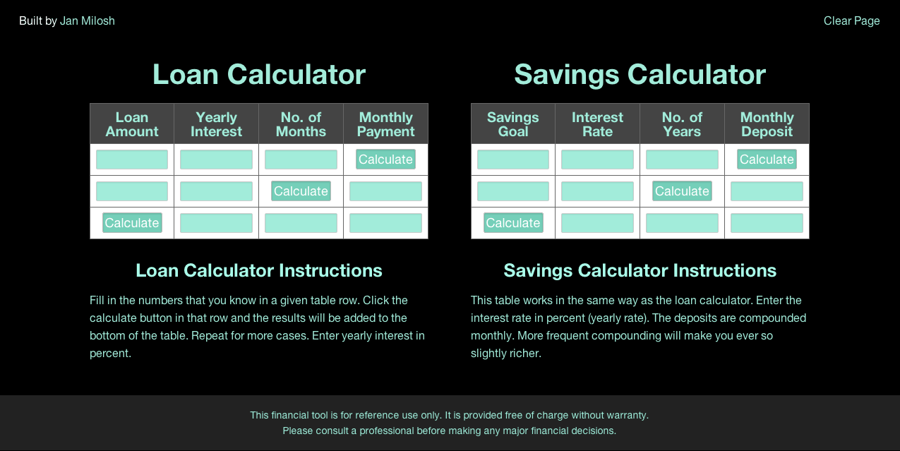 Loan and savings calculator